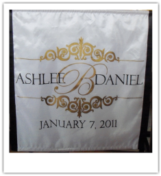 monogram wedding head table runner photos