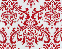 Traditions Lipstick Red and White Damask Napkins